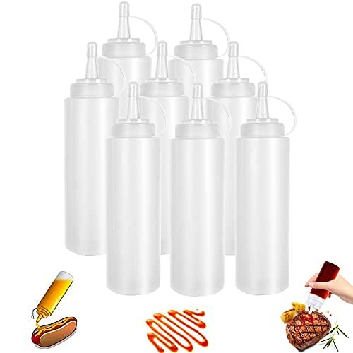 Bottiglia Squeeze di Plastica, 8pcs 8oz Bottiglia per Squeeze con Tappi, Trasparente Condimento Dispenser - a Prova di Perdite e Senza BPA, per Ketchup, Senape, Mayo, Salse piccanti, Olio d'oliva