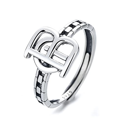awaFanee S925 Sterling Silver Open Rings Lettering Hollow Splicing Hip-hop Finger Joint Toe Ring Party Wedding Cute Jewelry Gifts Women Girls Band Adjustable Size 5-10 Under