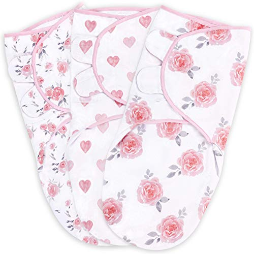 Baby Swaddle Blanket, Swaddle Wrap for Newborn and Infant, Adjustable Swaddle Set for Baby Boy and Girl, Soft Organic Cotton, Small (0-3 Month), Pink/Grey