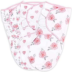 crib bedding and baby bedding baby swaddle blanket, swaddle wrap for newborn and infant, adjustable swaddle set for baby boy and girl, soft organic cotton, small (0-3 month), pink/grey