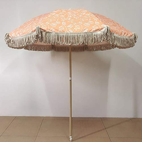 PARASOL LWMQ Patio Umbrella Beach Offset Tassel Umbrellas, with Inclined Function, Waterproof and UV Protection Ø 2m/6.5ft