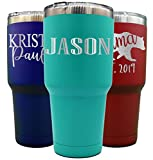 Personalized Tumbler With Lid - 30 oz - Choose Your Design -Vacuum Insulated Travel Coffee Mug - Stainless Steel Double Wall Thermos-custom cups (Aqua)