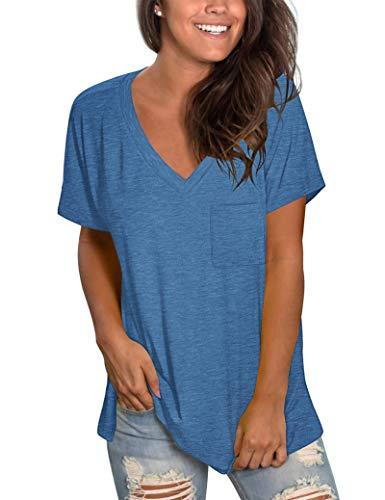 MOLERANI, Camisetas con Cuello en V para Mujer, Camisetas Suaves de Manga Corta, Camiseta básica Superior, Azul 2XL