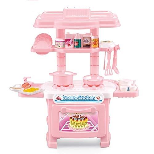 Cocina en Miniatura Pretend Pretend Play Niños Niños Juguetes para niñas Chicos Simulación Cocina Utensilios de Cocina Juguetes JJ JJ, Juguete Educativo Boyuewenhuachuanboyo (Color : Pink)