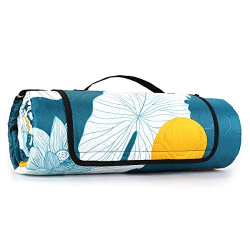 Sekey 200 x 200 cm Coperta Picnic Impermeabile, Pieghevole Portatile Coperta da Spiaggia Tappeto per Picnic Outdoor Giardino Campeggio (200 x 200 cm, Blu Loto)