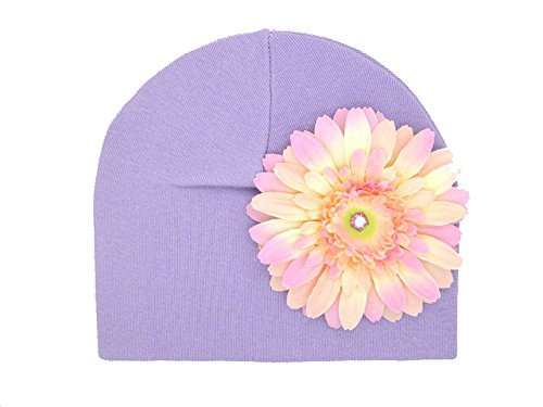 Jamie Rae Hats - Lavender Cotton Hat with Pale Pink Daisy, Size: 0-6M