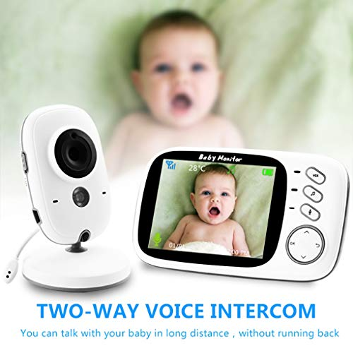 Wireless Video Color Babyfoon Met 3.2inches LCD Met Two Way Talk/Temperature Monitor / 8 Baby Lullaby - Baby Elder Pet Monitors For Baby/Dier/Nanny/Ouderen