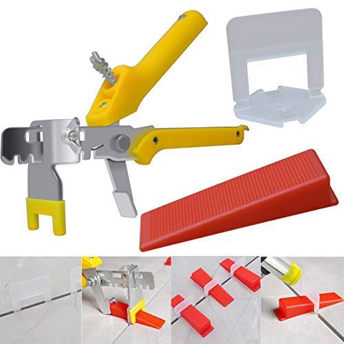 "MySit Tile Leveling System 1/8"" Tile Leveler Spacer with Tile Plier, 300pcs Tiles Leveler Spacers Clips and 100pcs ReusableWedges, Tile Levelers Tools Set for Walls and Floors Installation"