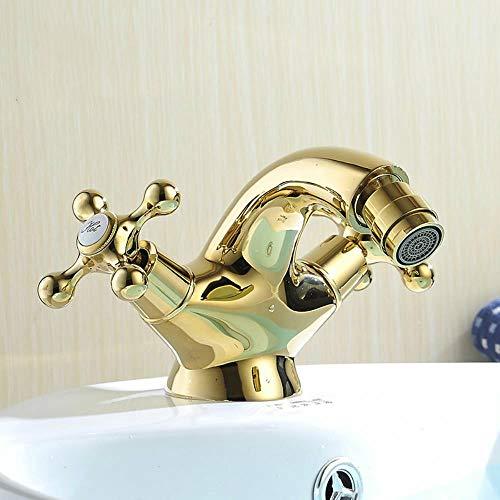 Grifos bidé estilo de Europa de Oro bidet Baño Manija doble orificio de baño de oro mezclador caliente y fría grifos grifo WF-7313K