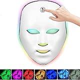 PEALOV Sistema LED de cuidado facial actualizado,7 colores Máscara facial con luz LED-No se requieren cables con botón...