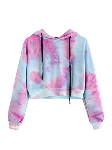 MAKEMECHIC Women's Long Sleeve Tie Dye Print Sweatshirt Crop Top Hoodies Blue M
