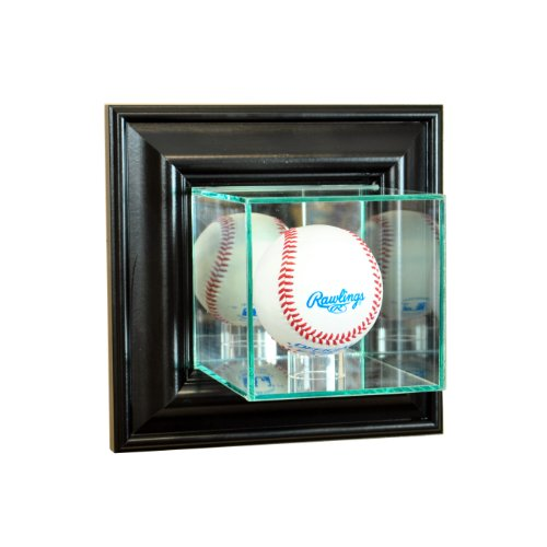 Perfect Cases MLB Wall Mounted Baseball Glass Display Case, Black