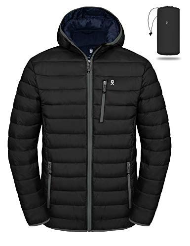 Little Donkey Andy Men's Packable Lightweight Puffer Jacket Hooded Windproof Winter Coat with Recycled Insulation Black XXL