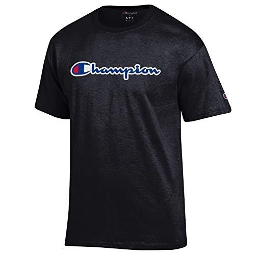 Champion Men's Classic Jersey Script Cotton T-Shirt (Large, Black/Champion Classic Script)