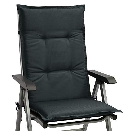 Beautissu Stuhlauflage Hochlehner Gartenstuhl Base HL Sitzkissen 120x50x6cm Rückenkissen Stuhlkissen für Gartenstühle Sitzpolster Graphit-Grau