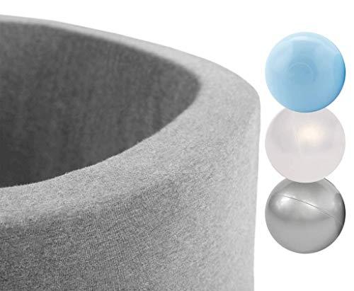 MISIOO Smart Bällebad 90x30 cm Rund für Baby Kleinkinder, hellgrau, mit 300 bunten Bällen