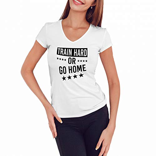 WGC Train Hard Or Go Home Gym Motivation Camisa con Cuello en V para Mujer