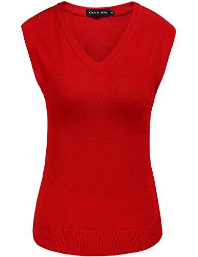 Camii Mia Damen Pullunder Strick Weste V-Ausschnitt Einfarbig für Business und Freizeit (Small, Rot)