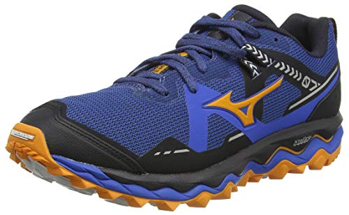Mizuno Wave Mujin 7, Zapatillas para Carreras de montaña para Hombre, Azul/Lunarrock/Forange, 44 EU