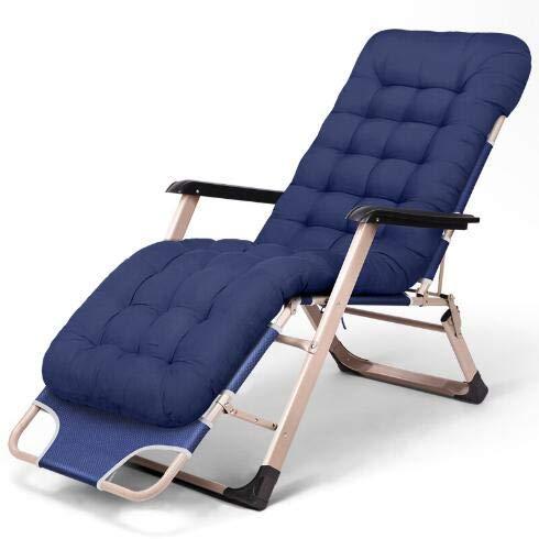 Chairqew, sedia a sdraio pieghevole con poggiatesta imbottito regolabile, 178 x 67 x 30 cm Blu+opaco