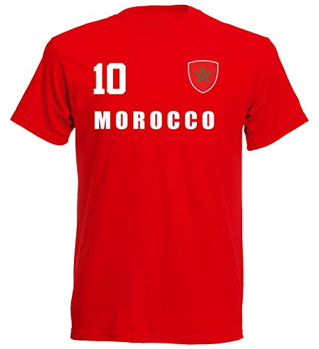 aprom Marokko T-shirt look - rood ALL-10 - WM EM Sport Voetbal Morocco Maghreb Africa