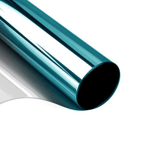 Sichtschutzfolie Fenster, Sonnenschutzfolie Fenster Innen oder Außen | Spiegelfolie Selbstklebend 99% Anti-UV Fensterfolie Sonnenschutz Blau Silber (40x200)