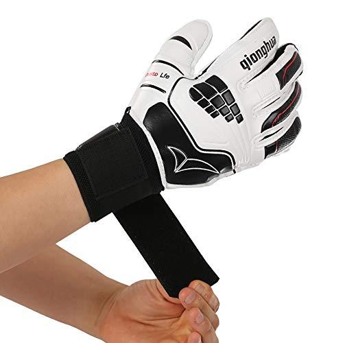 Robuste Sportschutzhandschuhe Fußball Torwarthandschuhe Jugendlicher Erwachsener mit Fingerstacheln Latex Strong Grip Anti Slid Protection - Weiß mit Schwarz Für Outdoor-Aktivitäten ( Size : M )