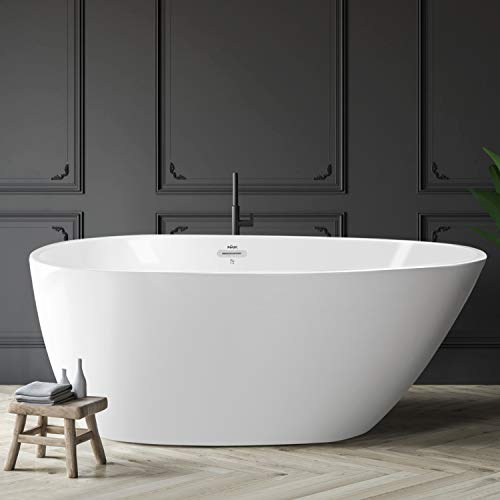 Check Out This FerdY Freestanding Bathtub 55″ x 29.5″ New Egg oval shaped Freestanding Soaking Bathtub, Glossy White, cUPC Certified, Toe-Tap Drain & Overflow Assembly Included
