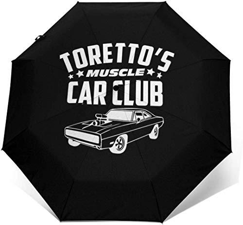Schneller und wütender Torettos-Muscle-Car-Club, Trucker-Cap Winddichter, kompakter, automatisch zu öffnender und zu schließender Taschenschirm, automatischer, Faltbarer Reisesonnenschirm