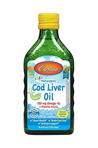 Carlson Labs Aceite De Hígado De Bacalao Del Niño, 550 Mg Limón Natural 510 g