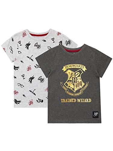 HARRY POTTER Camiseta de Manga Corta Paquete de 2 para niñas Hogwarts Gris 5-6 Años