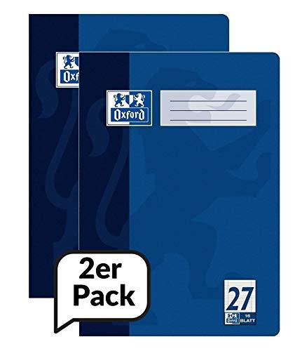 Oxford 100050313 Hefte A4 Liniert mit Rand, Lineaur 27, blau, 16 Blatt, 2er Pack