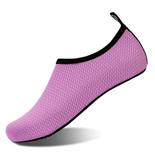 Womens and Mens Water Shoes Barefoot Quick-Dry Aqua Socks for Beach Swim Surf Yoga Exercise (Blisters-Purple, S)