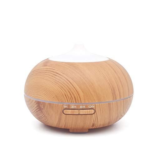 kMOoz Mini-luchtreiniger luchtbevochtiger, houtnerf aromatherapie machine koude mist kleurrijke geur voor slaapkamer decoratie Toepassing bruin