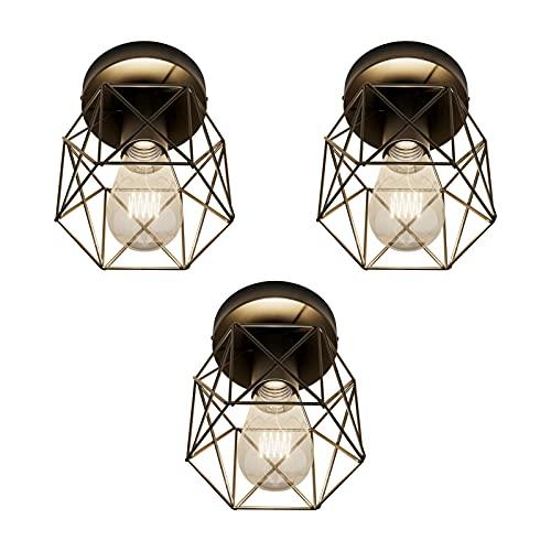 Klighten 3 Piezas Luces de Techo Vintage Negro, E27 Industrial Lámpara de Metal Techo, Retro Luz de Techo Geométrica, Para Pasillo, Dormitorio, Sala de Estar, Loft, Comedor(Bombillas no Incluidas)
