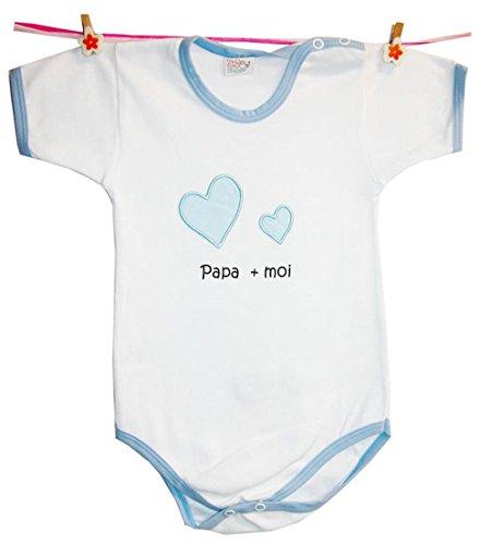 Zigozago - Body Bèbè à Manches Courtes pour bébé avec Broderie Papa + Moi Taille: 3-6 Mois - 100% Coton
