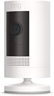 Ring Stick Up Cam Battery HD security camera with two-way talk, Works with Alexa – White