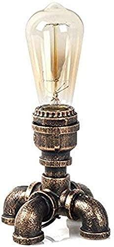 JFFFFWI Lámpara de Mesa Steampunk, Tubo de Agua Vintage, Interruptor de botón Mediano de Cuatro pies, luz de Escritorio Industrial rústica, iluminación Nocturna no Regulable para café, Hotel, estudi