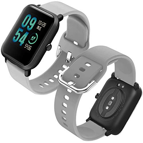Th-some Correa para Amazfit GTS Impermeable Universal - Reemplazo de Pulsera Ajustable para Xiaomi Huami Amazfit Bip/Amazfit Bip bit Lite Youth/Amazfit GTR 42mm Watch, Sin Tracker - Gris