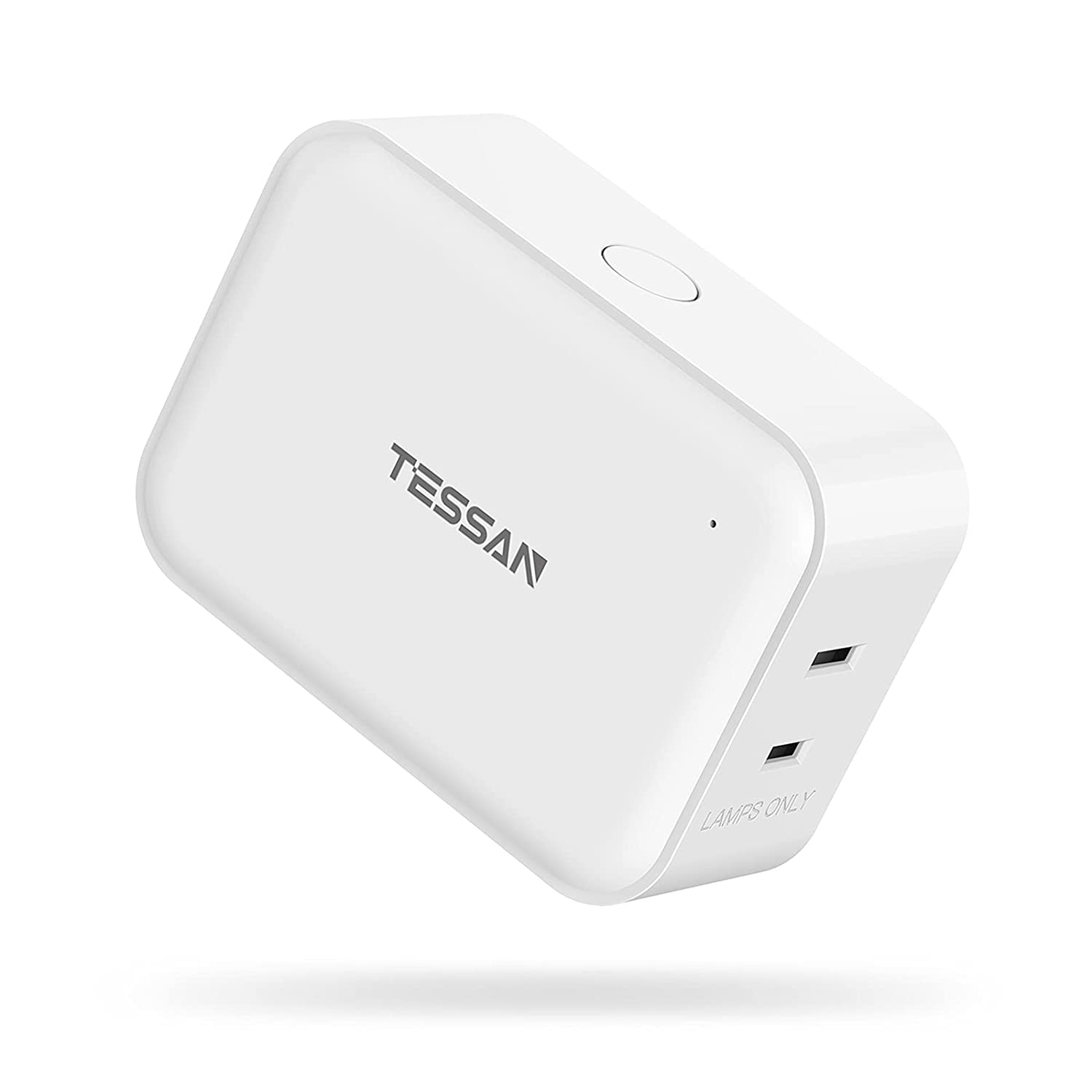 Smart Dimmer Plug for Lamp and String Lights, TESSAN Dimmable WiFi Plug Compatible with Alexa, Google Home, with Voice Control, Schedule Timer, Remote Control, 2 Outlets and Max Power 300W
