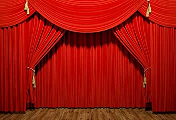 Baocicco 7x5ft Vinyl Theater Stage Interior Backdrop Photography Background Stage Lights Red Curtains Wooden Floor Festival Celebration Backdrop Children Baby Adults Portraits Photo Studio