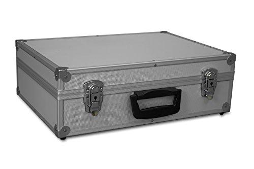 GORANDO® Transport-Koffer in silber mit Aluminiumrahmen für Werkzeuge, Kamera, Messgeräte   Schaumstoff-Auskleidung   10kg belastbar   440x300x130mm