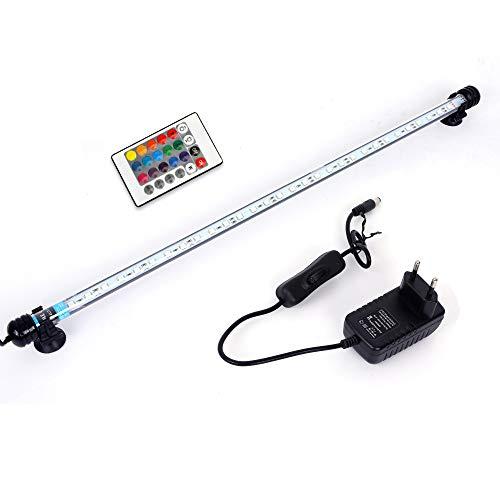 MLJ RGB Aquarium Beleuchtung, LED Aquarium Leuchte 57 cm Wasserdicht Aquarium Lampe Stecker EU Unterwasser LED-Lichtbalken für Fisch Tank mit Fernbedienung (RGB)