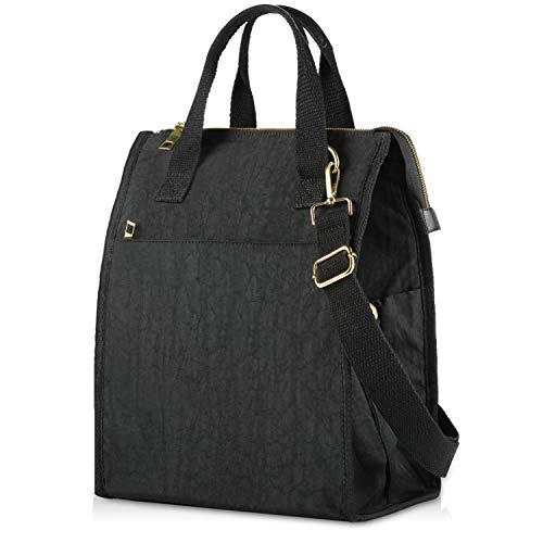 FOREGOER große lunchtasche, lunchtasche arbeit damen, wasserdichte Nylon-Kühltasche für Männer Studentenbüro (schwarz)