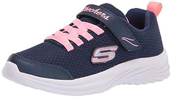 Skechers Kids Sport Light Weight Girls Machine Washable Sneaker Navy/Coral 12 Little Kid