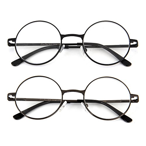 (レンサン) LianSan老眼鏡 丸 メガネ サークル ロイド ラウンド レディース メンズ 女性 男性 ファッション おしゃれな シニアグラス リーディンググラス 老眼鏡 L6800ブルーライトカット 二点セット +1.5