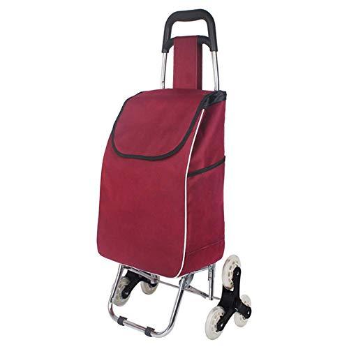KAUTO Carro de Compras Plegable/Carro de Acero Inoxidable para el hogar/Carro Conveniente Rojo/Carro para Acampar al Aire Libre
