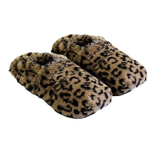 Körner-Sox Original Wärmehausschuhe, Supersoft, für Ofen & Mikrowelle, Präzise Farbe:Leopard, Schuhgröße:36/40 EU