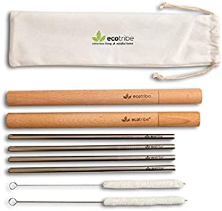 """Ecotribe Reusable 8.5"""" Metal Straws with Wooden Case: Four Straight Stainless Steel Smoothie Straws, Two Wood Carrying Travel Cases, Two Cleaning Brushes & One Pouch. Quality Portable Metal Straws."""