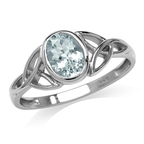 Silvershake Genuine Blue Aquamarine White Gold Plated 925 Sterling Silver Triquetra Celtic Knot Ring Size 7.5